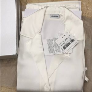 La Perla white silk pajama set (Top & Pants)